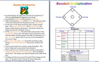 Baseball Multiplication Game- leveled