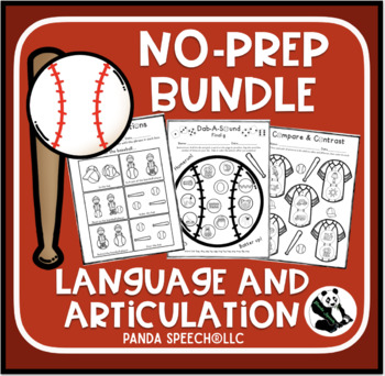 Baseball No-Prep BUNDLE: Speech and Language Activities
