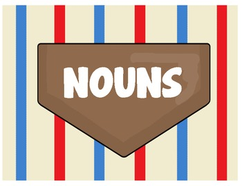 Baseball Nouns, Verbs, Adjectives Sort or Game