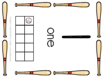 Baseball Number Cards with Ten Frames