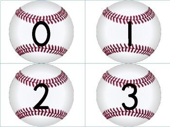Baseball Math Number Flashcards 0-100