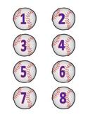 Baseball Number Labels #'s 1 - 40