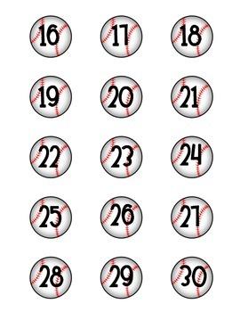 Baseball Number Labels