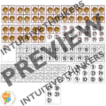 Baseball Number Match Activity Cards 0-20