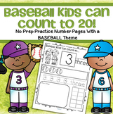 Baseball Number Practice 1-20 No Prep Printables