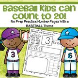 Baseball Number Sense Practice Printables 1-20 Distance Learning No Prep