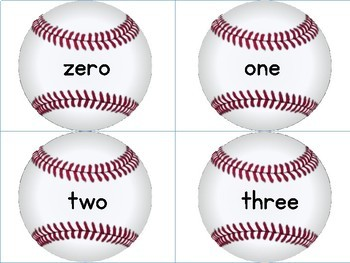 Baseball Math Number Word Flashcards Zero To One Hundred