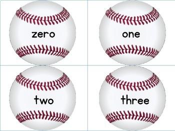Baseball Math Number Word Flashcards Zero To One Hundred