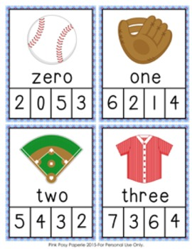 Baseball Number Words Clip Cards