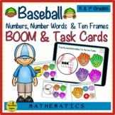 Baseball Numbers, Number Words & Ten Frames BOOM & Task Cards Match Game