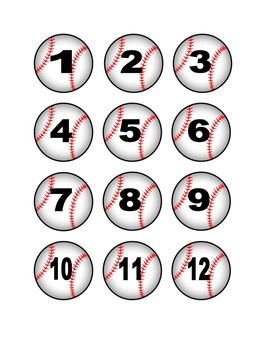 Baseball Numbers for Calendar or Math Activity