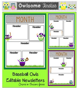 Baseball Owls Newsletter Templates