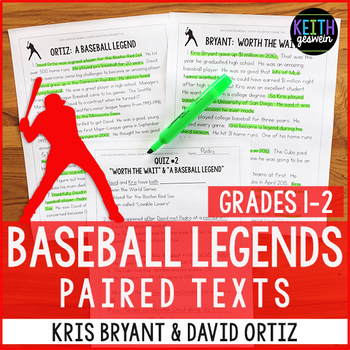 Baseball Paired Texts: Kris Bryant and David Ortiz (Grades 1-2)