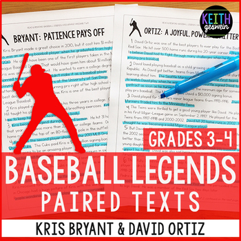 Baseball Paired Texts: Kris Bryant and David Ortiz (Grades 3-4)