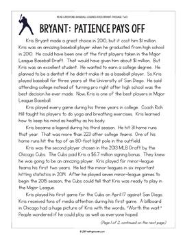 Baseball Paired Texts: Kris Bryant and David Ortiz (Grades 3-4)