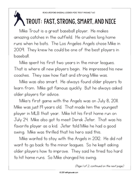 Baseball Paired Texts: Mike Trout and Derek Jeter (Grades 1-2)