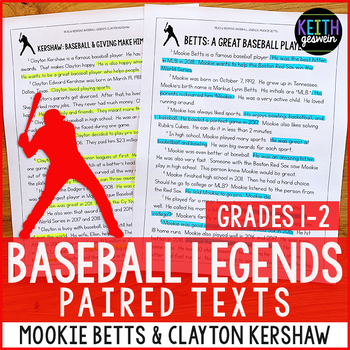 Baseball Paired Texts: Mookie Betts and Clayton Kershaw (Grades 1-2)