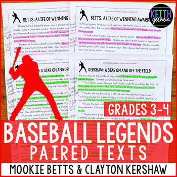 Baseball Paired Texts: Mookie Betts and Clayton Kershaw (Grades 3-4)