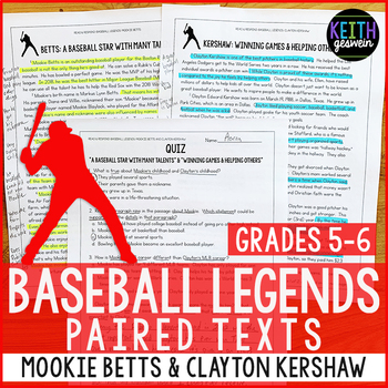Baseball Paired Texts: Mookie Betts and Clayton Kershaw (Grades 5-6)