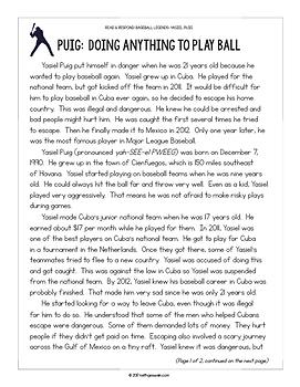 Baseball Paired Texts: Yasiel Puig and Jose Altuve (Grades 3-4)