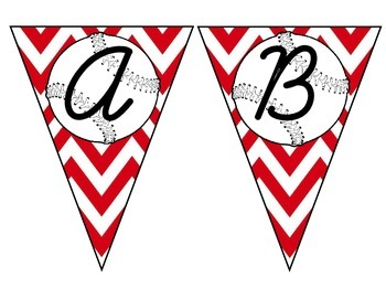 Baseball Pennant with Red Chevron Capital Letters Cursive
