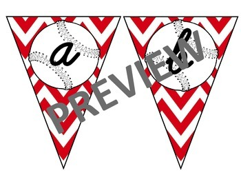 Baseball Pennant with Red Chevron  Lower Case Cursive Letters