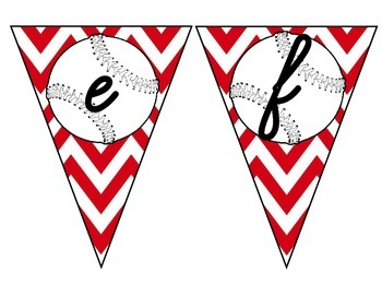 Baseball Pennant with Red Chevron Capital and Lower Case Cursive Letters