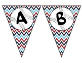Baseball Pennant with red, white, & blue chevron background