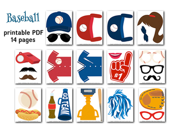 graphic regarding Photo Booth Props Printable Pdf named Baseball Image Booth Props, Baseball night time Get together Photobooth Props