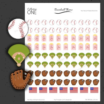 Baseball Planner Stickers - Printable Planner Stickers, Teacher