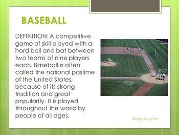 baseball powerpoint the rules of the game by happyedugator tpt
