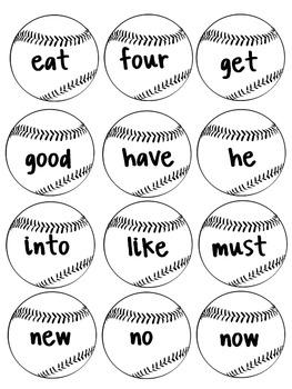 Baseball Primer Sight Word Game