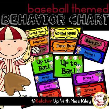 Rainbow Behavior Chart- Baseball Theme