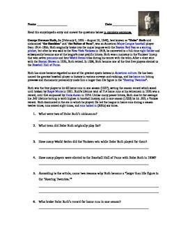 Baseball Reading Comprehension (non-fiction)