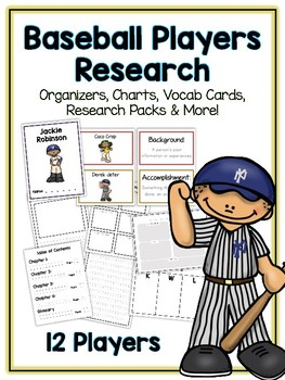 Baseball Research Project - 11 Athletes, Vocab Cards, Packet, Book + More!
