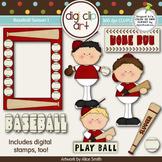 Baseball Season 1  Red/White -  Digi Clip Art/Digital Stamps - CU Clip Art