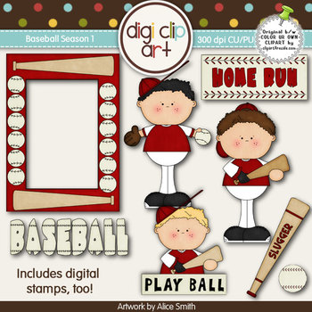Baseball Season 1  Red/White -  Digi Clip Art/Digital Stamps - CU Clip Art