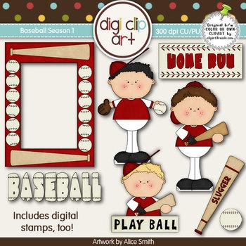 Baseball Season 1  Red/White -  Digi Clip Art/Digital Stam
