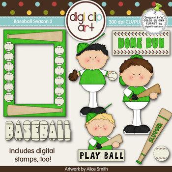 Baseball Season 3 Green/White -  Digi Clip Art/Digital Stamps - CU Clip Art