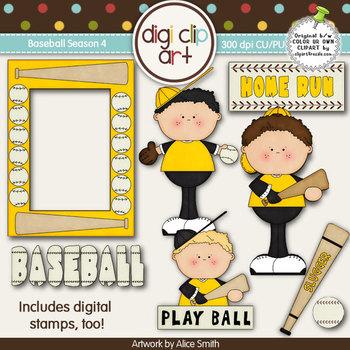 Baseball Season 4 Black/Gold -  Digi Clip Art/Digital Stamps - CU Clip Art