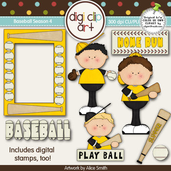 Baseball Season 4 Black/Gold -  Digi Clip Art/Digital Stam