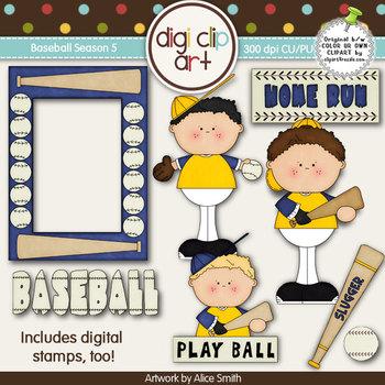 Baseball Season 5 Blue/Gold -  Digi Clip Art/Digital Stamps - CU Clip Art