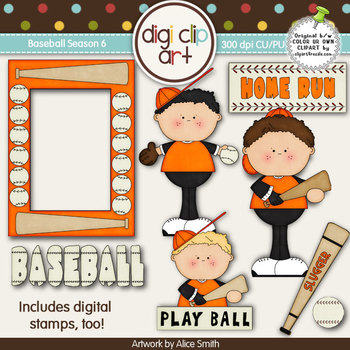 Baseball Season 6 Orange/Black -  Digi Clip Art/Digital Stamps - CU Clip Art