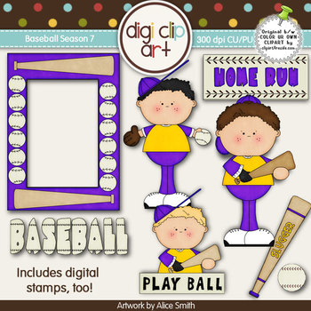 Baseball Season 7 Purple/Gold -  Digi Clip Art/Digital Stamps - CU Clip Art