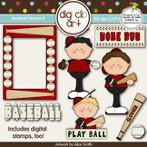 Baseball Season 8 Red/Black -  Digi Clip Art/Digital Stamps - CU Clip Art