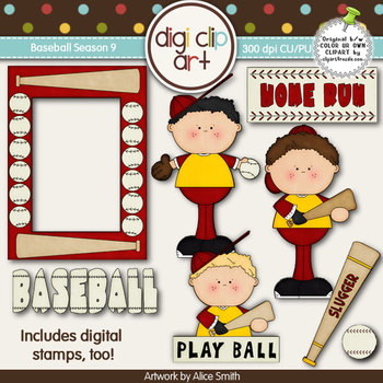 Baseball Season 9 Red/Gold -  Digi Clip Art/Digital Stamps