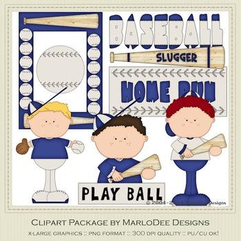 Baseball Season Blue Set 1 Clip Art Graphics