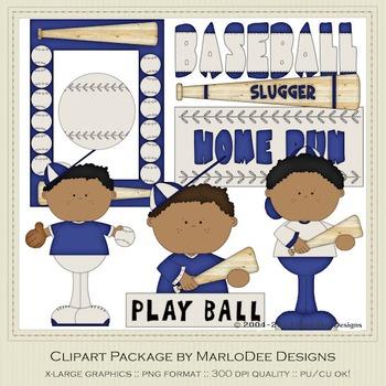 Baseball Season Blue Set 2 Clip Art Graphics