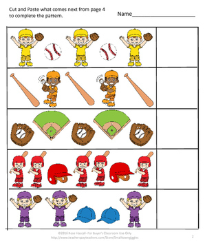 No Prep Baseball Sequence, Addition, Subtraction Cut and Paste Printables