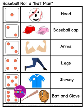 "Baseball Bundle Roll and Write a sentence or story and Roll and Draw ""Bat Man"""